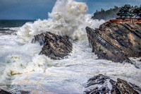 A giant wave explodes at Oregon's Shore Acres State Park